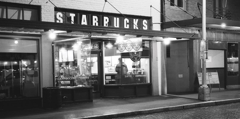 Exterior of orginal Starbucks Coffeehouse, black and white